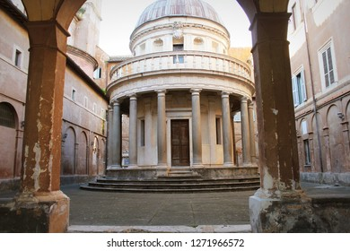 Exterior view of famous reinassance bramante masterpiece tempietto located at San Pietro in Montorio courtyard, Rome, Italy