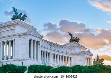 Exterior view of famous Vittorio Emanuele II monument conmemoraty building located in center of Rome, Italy