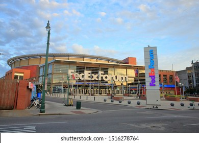 Exterior view of the FedEx forum which is the home of the National Basketball Association (NBA) Memphis Grizzlies basketball team - Memphis, Tennessee, USA - September 26, 2019