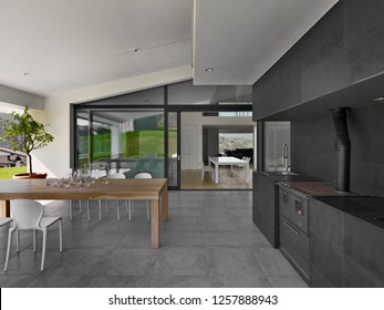 exterior view  in the foregorund the wood dining table on the background the modern kitchen