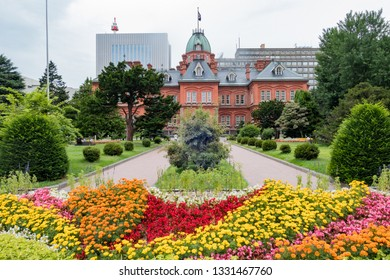 Exterior view of the Former Hokkaido Government Office with flower blossom at Hokkaido, Japan