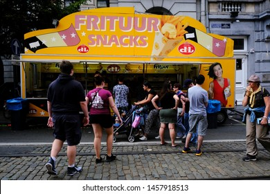 Exterior view of friterie which serving classic Belgian fries with choice of sauces, plus burgers and snacks in Brussels, Belgium on July 21, 2019