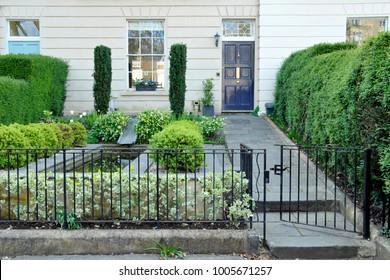 Exterior View and Garden on an Elegant Georgian Era English Town House