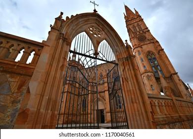 Exterior view of the Gothic architecture church Templo de Nuestra Señora de Fátima in Zacatecas, Mexico.