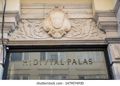 Exterior view of Hidivyal Palas building which located in beyoglu,Istanbul,Turkey.25 July 2019