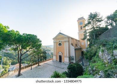 Exterior view of the historical Church of Our Lady of the Assumption of Eze near Nice, at France