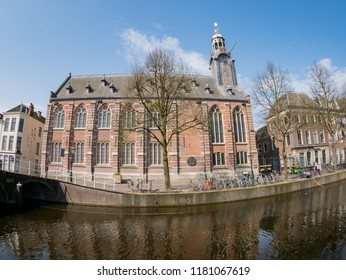 Exterior view of the historical Leiden University church at Netherlands