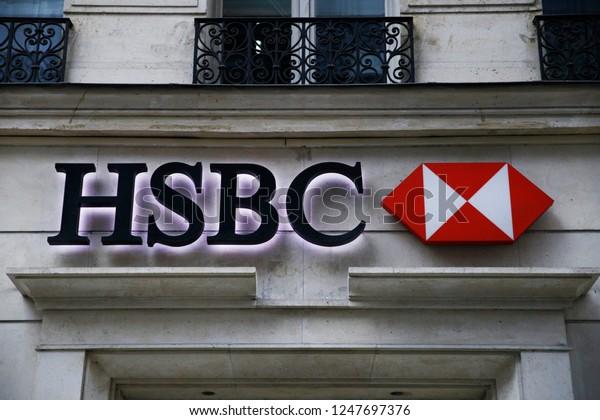 Exterior View Hsbc Bank Branch Paris Stock Photo (Edit Now