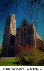 An exterior view of an impressive church building in Crieff, Perthshire