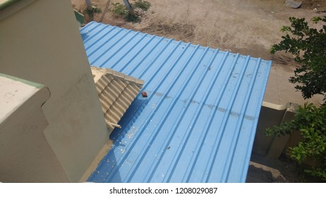 exterior view of an independent house in india with sunshades covering or protecting house from sunlight and rain.with selective focus on the subject, unedited photography.