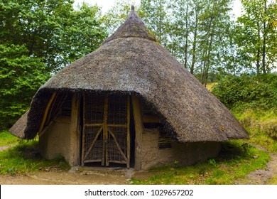 Exterior view of Iron age hut on Isle of Arran, Scotland.