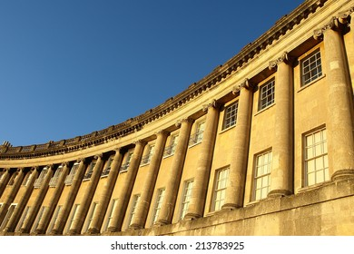 Exterior View of the Landmark Royal Crescent Buildings in the City of Bath in Somerset England - The Royal Crescent Comprises of Beautiful Georgian Era Luxury Terraced Houses