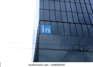 Exterior view of Linkedin HQ in San Francisco, CA, April 13, 2019. LinkedIn is a business and employment-oriented service that operates via websites and mobile apps.