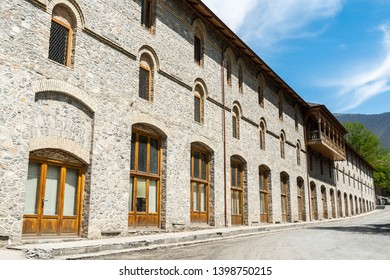 Exterior view of Lower Karavansaray building in Sheki, Azerbaijan. The building dates from the 18th century.