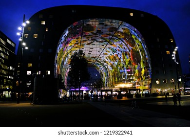 Exterior view of Markthal, a modern dutch marketplace Rotterdam, Netherland on Oct.  29, 2018