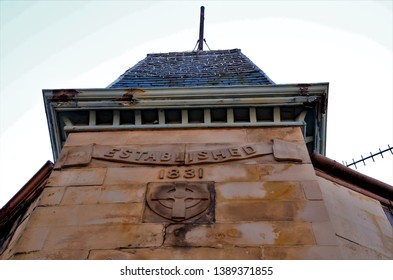 An exterior view of the masonry detail on an old building in Crieff, Perthshire