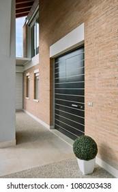 exterior view of a modern main door of a villa