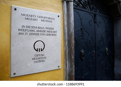Exterior view of of Mozart's birthplace which was the birthplace of Wolfgang Amadeus Mozart at No. 9 Getreidegasse in Salzburg, Austria on Sep. 21, 2018