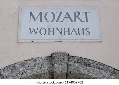 Exterior view of Mozart's house in Salzburg, Austria on Sep. 21, 2018