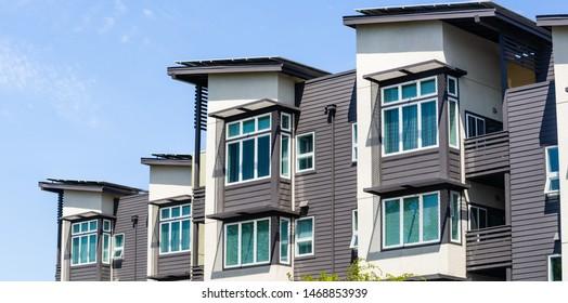 Exterior view of multifamily residential building; Menlo Park, San Francisco bay area, California