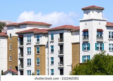 Exterior view of multifamily residential building; San Jose, South San Francisco bay area, California