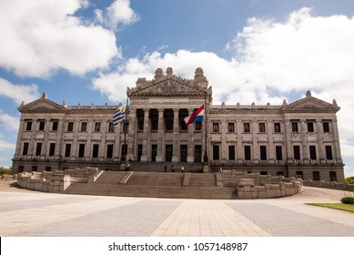 Exterior view of neoclassical style legislative building Montevideo - Uruguay