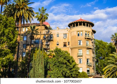 Exterior view of old apartment building close to Pasadena downtown, California