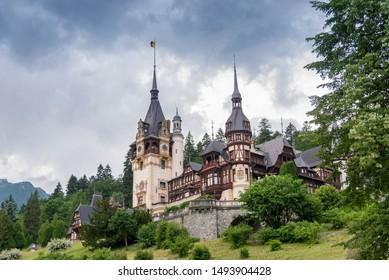 Exterior view of Peles Castle, near Sinaia, in Transylvania (Romania).