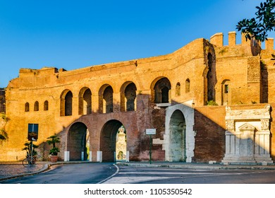 Exterior view of porta pinciana at veneto via street, Rome, Italy