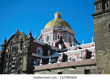Exterior view of the Puebla Cathedral, a 16th century Roman Catholic church in Mexico.