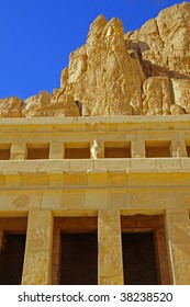 Exterior view of Queen Hatshepsut Temple in Luxor, Egypt along the Nile River.
