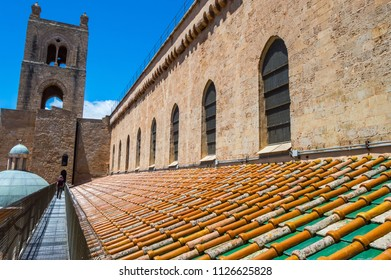 Exterior view of the roof and one of the towers of the Santa Maria Nuova cathedral of Monreale near Palermo in Sicily