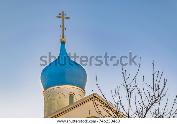Exterior view of russian style church at Montevideo city, Uruguay