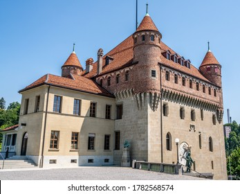 Exterior view of the Saint-Maire castle a Swiss heritage site in Lausanne Vaud Switzerland