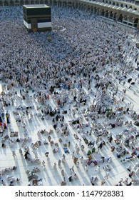 Exterior view of shadows of pilgrims congregate after afternoon prayer in Mecca, Saudi Arabia.