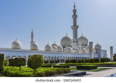 Exterior view of Sheikh Zayed Grand Mosque, located in Abu Dhabi - capital city of United Arab Emirates. Mosque was initiated by late President of UAE Sheikh Zayed bin Sultan Al Nahyan.