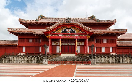 Exterior view of Shuri Castle, Okinawa, Japan.