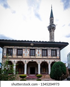 Exterior view to Spotted Mosque Alaca Cami Kalkandelen aka painted mosque in Tetovo, North Macedonia