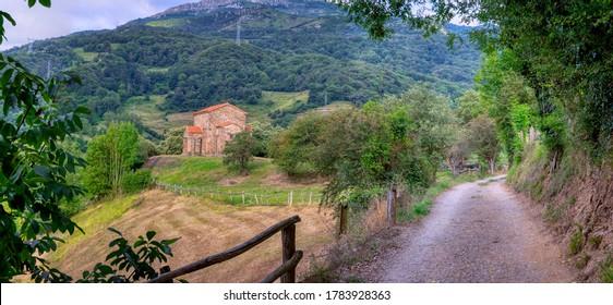 Exterior view of St Christine of Lena church at spring. Santa Cristina de Lena is a Catholic pre-Romanesque church located in Asturias, Spain.