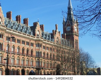 Exterior view of St Pancras Railway Station in London (UK): Neo-Gothic architecture, 19th century, originally built by the Midland Railway. Today also Eurostar terminal from London to Paris.