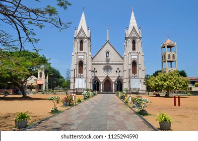 Exterior view of St. Sebastian's Church in Negombo, Sri Lanka.