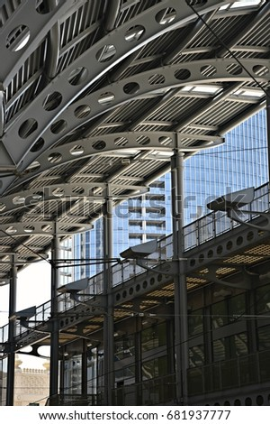 Exterior view of the stainless steel canopy part of the main railway station metal and & Exterior View Stainless Steel Canopy Part Stock Photo (Edit Now ...
