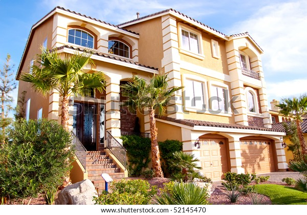 Exterior View Stucco House Stock Photo (Edit Now) 52145470