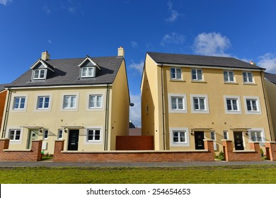 Exterior View of Town Houses on a Typical English Residential Estate