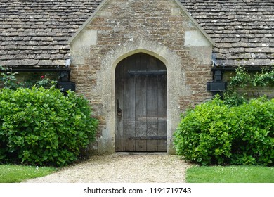 Exterior View of a Wooden Front Door of an Old Building