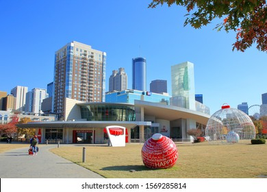 Exterior view of the World of Coca-Cola Museum which highlights the history and products of the Coca-Cola Co., a NYSE publicly traded company with ticker KO - Atlanta, Georgia, USA - November 19, 2019