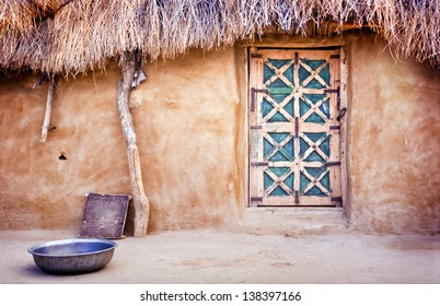 Exterior of a village hut in the Great Thar Desert, India