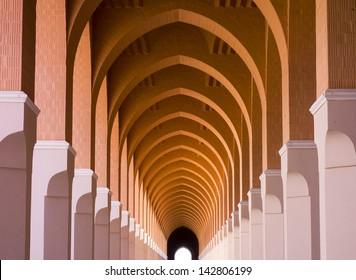 Exterior of a walkway in Masjid Bir 'Ali (or Shajarah or Zhulhulaifah) Mosque in Medina, Saudi Arabia.