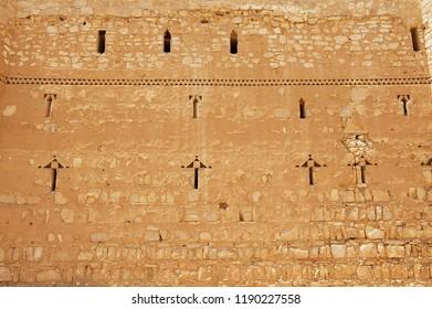 Exterior wall of the desert castle Qasr Kharana (Kharanah or Harrana) near Amman, Jordan. Built in 8th century, used as caravanserai.