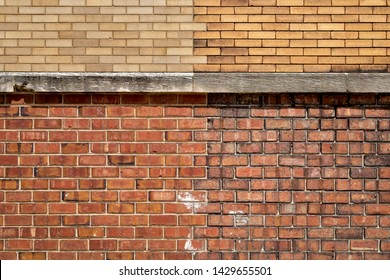 Exterior Wall with Four Different Types of Bricks and a Concrete Ledge